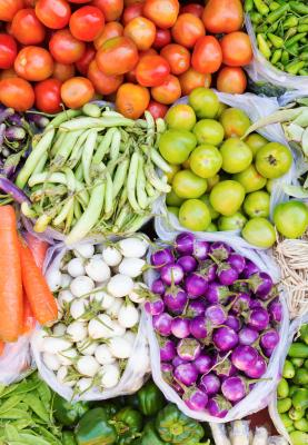 Vegetables on display in market